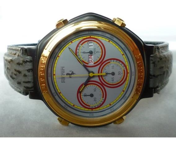 Relógio Ferrari Cartier Cronografo Na Caixa + Manual