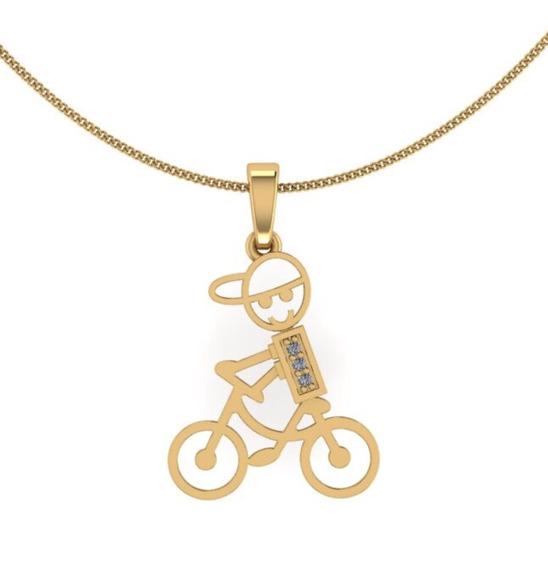 Pingente Menino Ciclista Ouro 10k