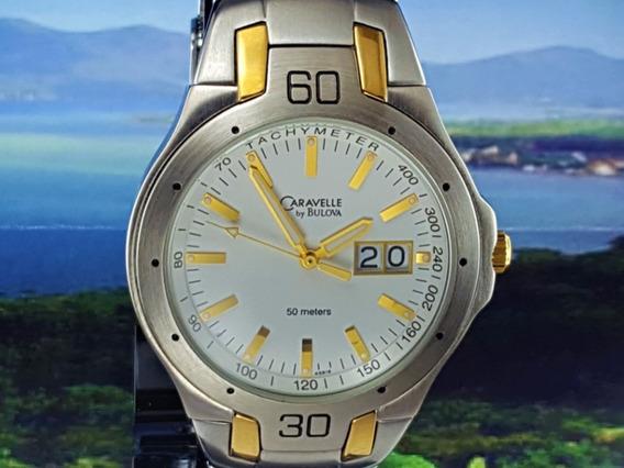 Relógio Caravelle Bulova 45b16 Visor Branco E Ouro Com Data.