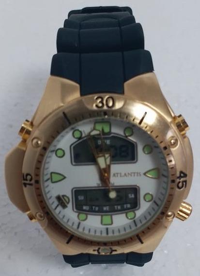 Relógio Masculino Atlantis G3154 Aqualand Dourado Branco