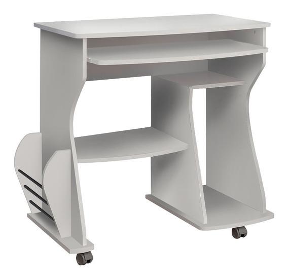 Mesa Para Computador C/ Rodízios E Base Teclado Branca