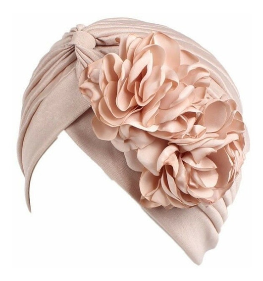 Turbante Plisado 2 Flores Muchos Colores Moda Chic Fiesta Quimio Alopicia
