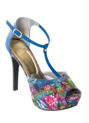 Sandália Meia Pata Com Estampa Floral Azul