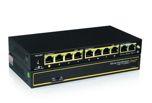 Imagen 1 de 5 de Switch Poe Cctv Ethernet Cygnus Cy-s1008-120-v2 2 Uplink