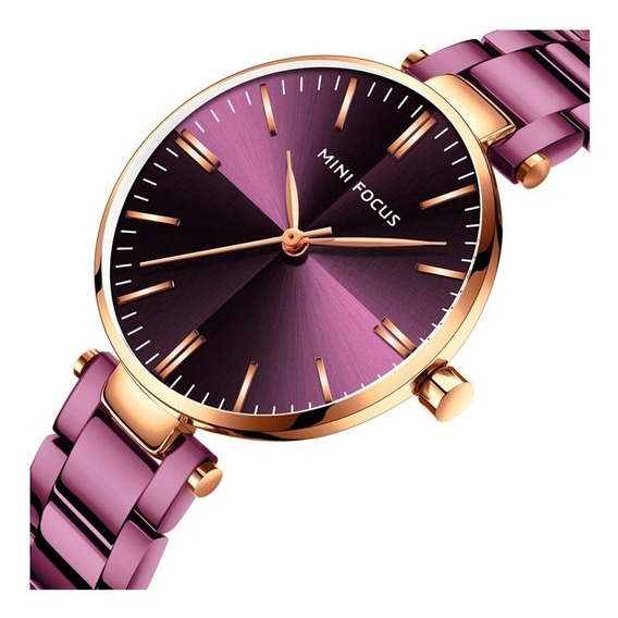 Reloj Para Dama Original Minifocus Elegante Morado 265l