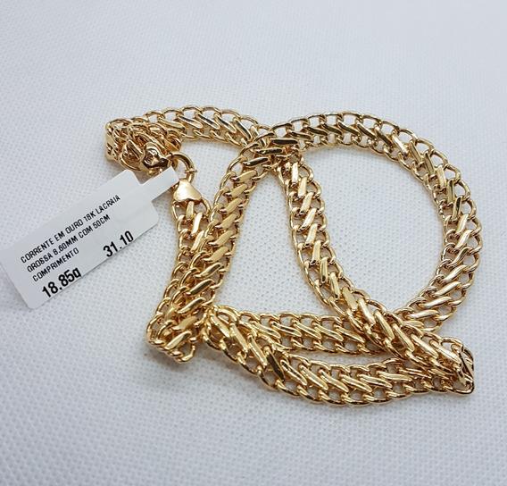 Corrente Em Ouro 18 Quilates Lacraia Grossa 50cm 18,85g