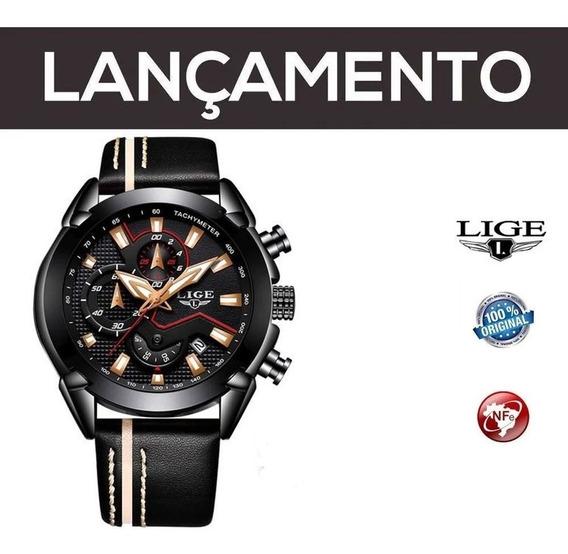 Relógio Masculino Preto Lige Original Pronta Entrega Com Nf