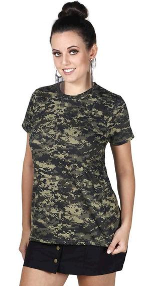 Camiseta Feminina Camuflada Militar Soldier Bélica