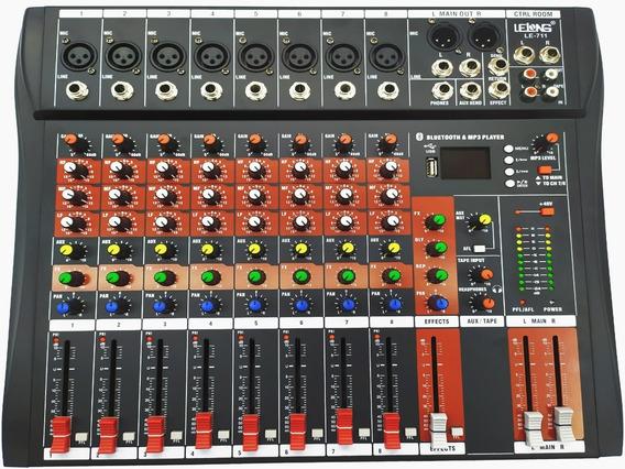 Mesa De Som Bluetooth Usb Mixer Mp3 Digital 8 Canais Le-711