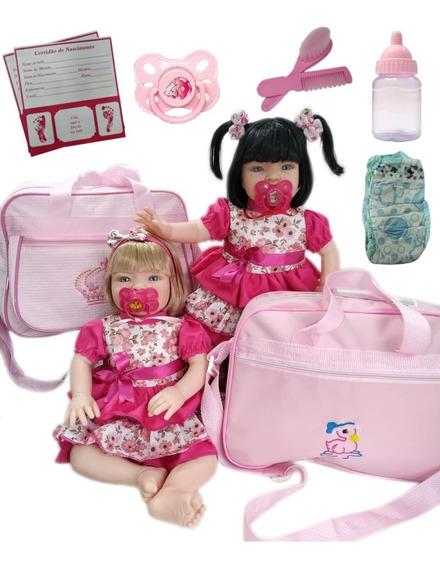 2 Bebês Reborn Acessórios+ Bolsa Maternidade