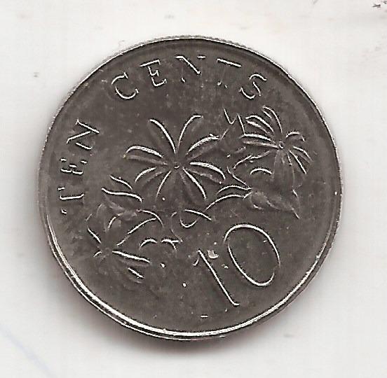 Singapur Moneda De 10 Cents Año 1993