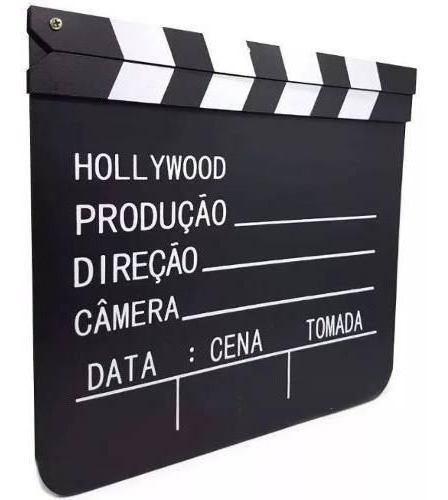 Claquete Cinema Madeira 30x28,5cm Enfeite Decoração + Brin