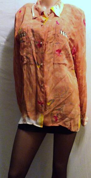 Camisa Estampada Crepe Vintage Con Hombreras Talle 3