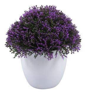 Planta Artificial Con Flores Con Maceta Morado