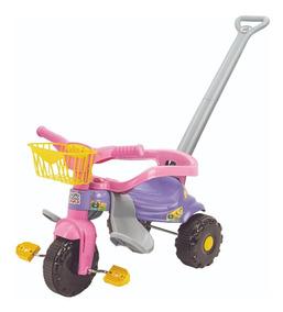 Carrinho Velotrol Empurrador Bebê 2 Anos Rosa Azul 2561/2560