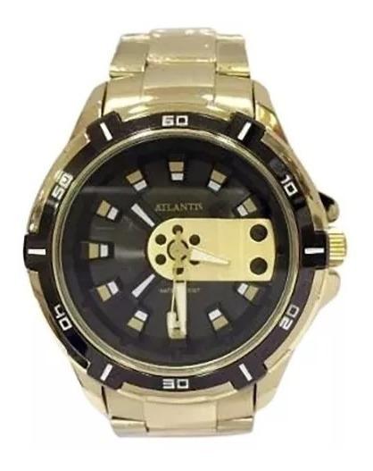 Relógio Masculino Atlantis Original Dourado Aço + Case