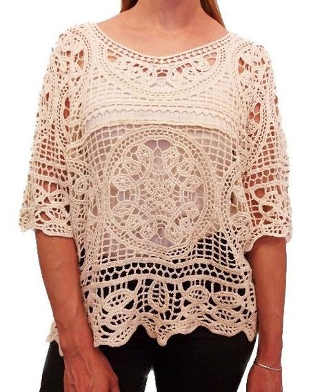 Sweater Mujer Playero Tejido Crochet Blusa Importado Liviano