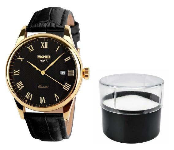 Relógio Original De Luxo Skmei Pulseira Couro Modelo 9058