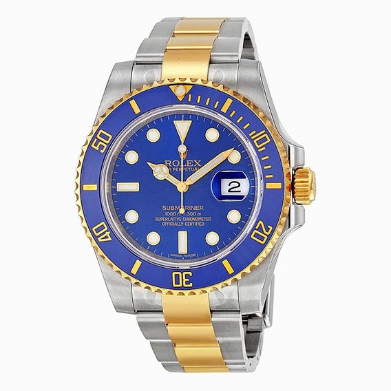 Relógio R. Submariner Superior Black Silver & Blue Gold+ F G