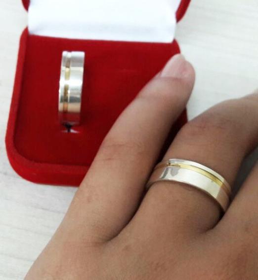 Aliança De Namoro Prata 950 Com Fio De Ouro Unidade