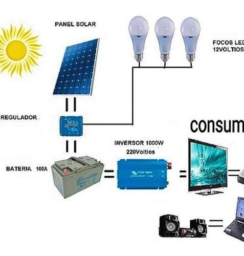 Panel Solar Kit 50w Regulador30a Bateria50ah Inverter 1000w