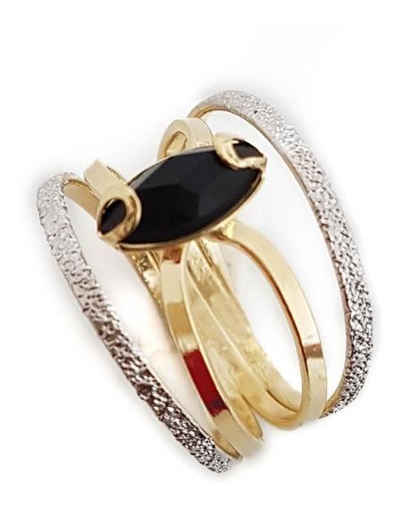 Anel Feminino Diamante Negro Zircônia Folheado Ouro 18. A06r