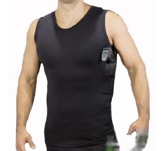 Camiseta / Coldre / Porta Carregador Regata Masculina Preta
