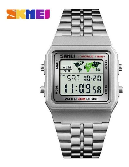 Relógio Masculino Skmei 1338 Digital Vintage Hora Mundial