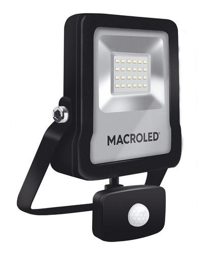 Imagen 1 de 4 de Macroled Reflector Led 20w Sensor Movimiento Fría 6500