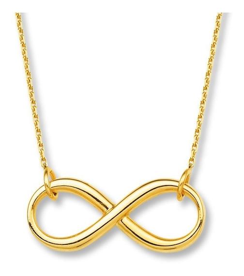 Collar Símbolo Del Infinito Dorado Bisutería