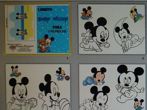 Librito Editable Para Colprear Mickey Bebe