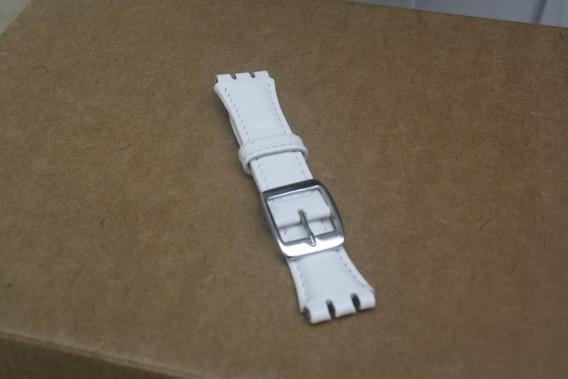 Pulseira Swatch Couro Racer 17 E 19mm Branca Leia Anuncio