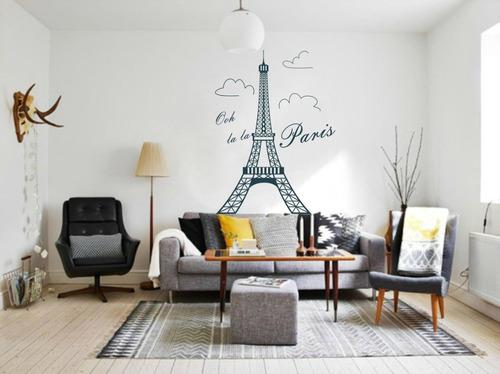 Mural Torre Eiffel Gigante - Vinilo Decorativos De 185x145cm