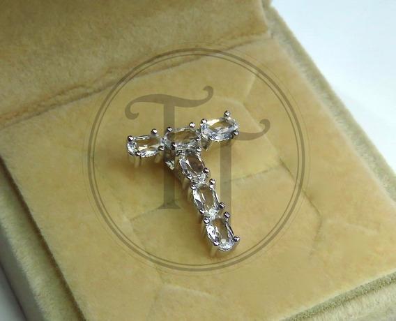 Collar Letra T En Plata Esterlina 925 Con Topacios Nat
