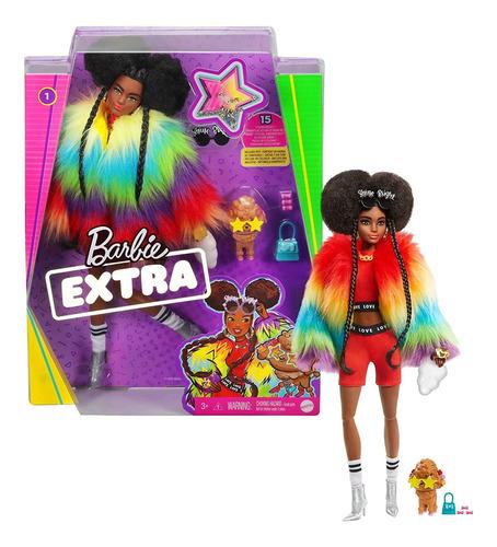 Barbie Extra Doll # 1 En Peludo Arco Iris Con Caniche, Moren