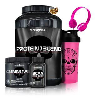 Kit Protein 7 + Creatine + Bcaa + Brindes - Black Skull
