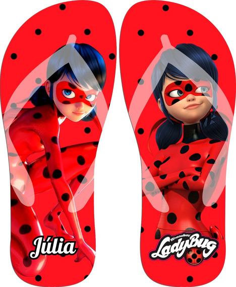 Chinelo Personalizado Lady Bug Ladybug Com Nome