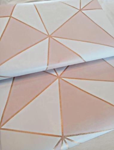 Papel De Parede Adesivo Geométrico Branco E Rose Gold- 2,50m
