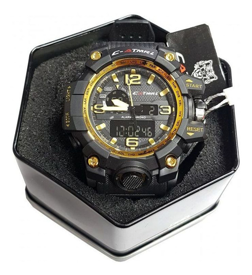 Relógio Tático Catmrl Sport Militar Preto/dourado