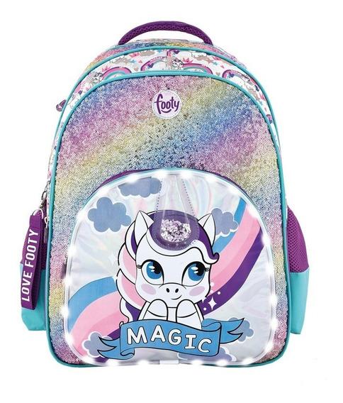 Mochila Unicornio Magic Led Lentejuelas Bicolor 18