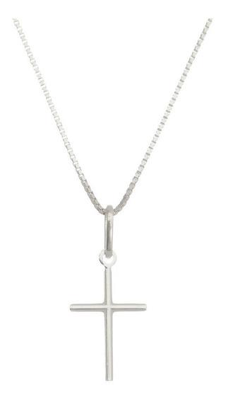 Cordão Corrente 45cm + Pingente Cruz Crucifixo Prata 925