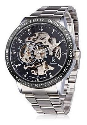 Relógio Sport Luxo Skeleton Automático Prata Fundo Preto