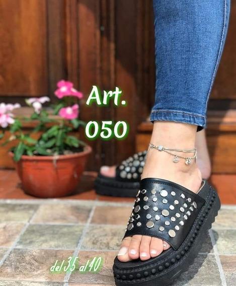 Sandalias Bajas Tipo Sueco Con Tachas-verano Moda Mujer 2020