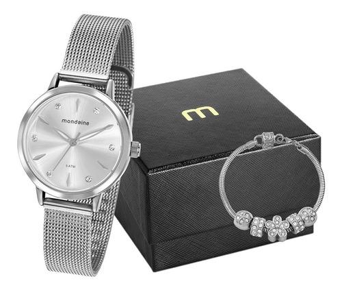 Imagem 1 de 9 de Relógio Mondaine Feminino Prata 76733l0mvne1 Kit Semi-joias