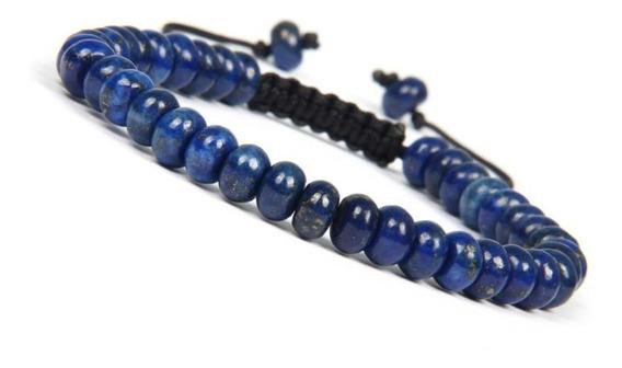 Pulsera Piedra Natural Lapislázuli Azul Hombre Ajustable Caballero Ajustable Caballero Macrame