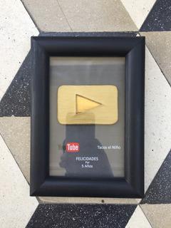 Placa De Youtube | Botón De Oro | Totalmente Personalizada