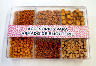 Caja Acrílica Con Maderas Naranjas Varias Para Bijou