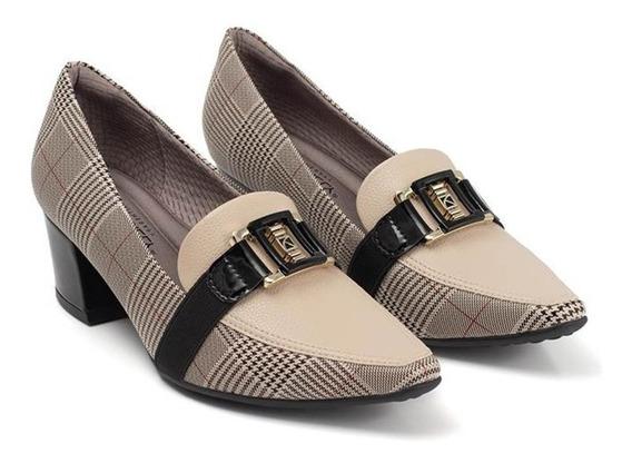 Sapato Scarpin Piccadilly Maxitherapy Xadrez 744073-10 Nº 36