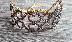 Bracelete Dourado Cravejado Em Strass