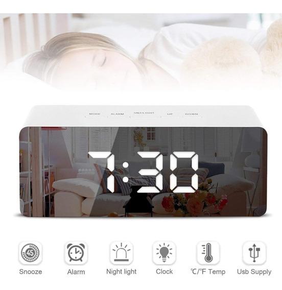 Reloj Led Despertador Espejo Temperatura Alarma Usb